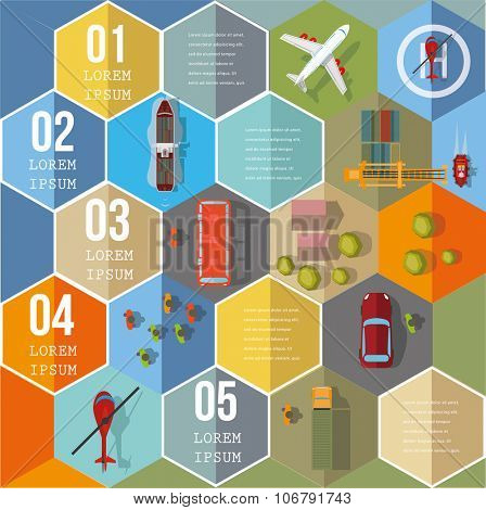Infographic Elements on Hexagons - Top View on Hexagons with transport icons.  Vector illustration.