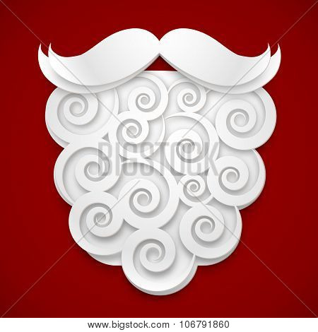 White paper Santas beard on red background