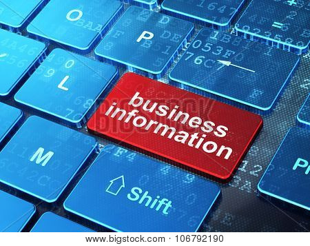 Business concept: Business Information on computer keyboard background