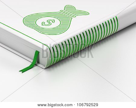 Business concept: closed book, Money Bag on white background