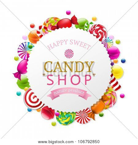 Candy Poster With Gradient Mesh, Vector Illustration