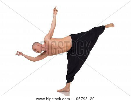 Yoga instructor in special pants for training