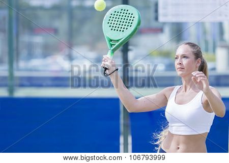 Girl Playing Paddle Tennis Match.
