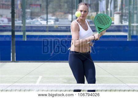 Girl Playing Paddle Tennis.