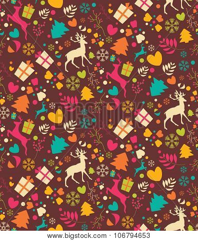 Seamless Patterns With Christmas Trees, Reindeers, Gift Boxes And Snowflakes