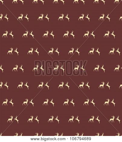 Seamless Patterns With Christmas Reindeers On Brown Background