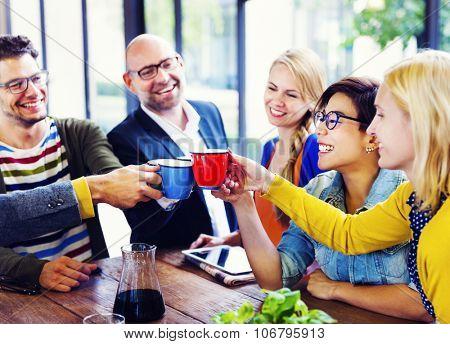 Group of People Cheers Coffee Break Concept