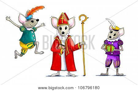 Dutch mice as Sinterklaas and Petes isolated over white background