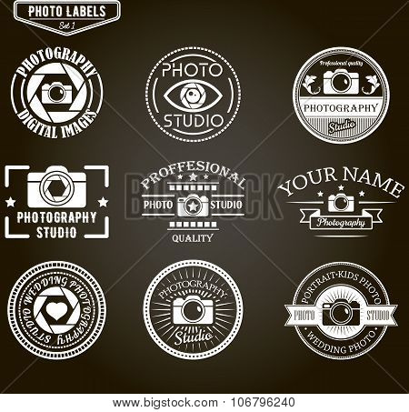 Vector set of photography logo templates. Photo studio logotypes and design elements.