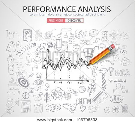 Performance Analysis concet with Doodle design style :finding solution, brainstorming, creative thinking. Modern style illustration for web banners, brochure and flyers.