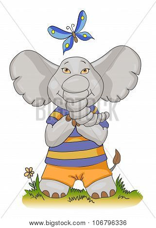 Cartoon Baby Elephant With Butterfly, Vector Illustration, Sports Elephant