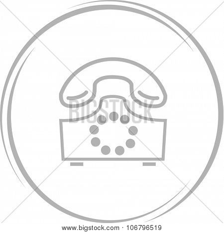 rotary phone. Internet button. Vector icon.