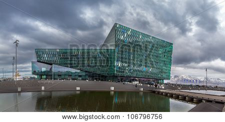Reykjavik, Iceland - April 03: Harpa Concert Hall Is A Modern Designed Concert Hall And Conference C