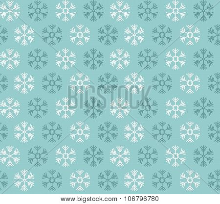 Seamless Pattern With Blue And White Christmas Snowflakes On Blue Background