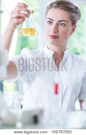 Biotechnologist Analyzing Liquid Substance