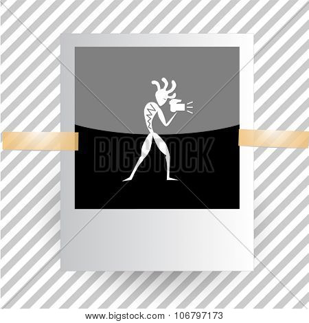 ethnic little man with camera. Photoframe. Vector icon.