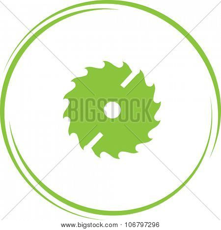 circ saw. Internet button. Vector icon.