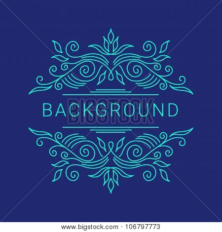 Elegant blue floral frame. Lineart vector illustration with text