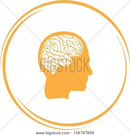human brain. Internet button. Vector icon.