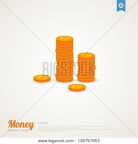 Flat icon of golden money.