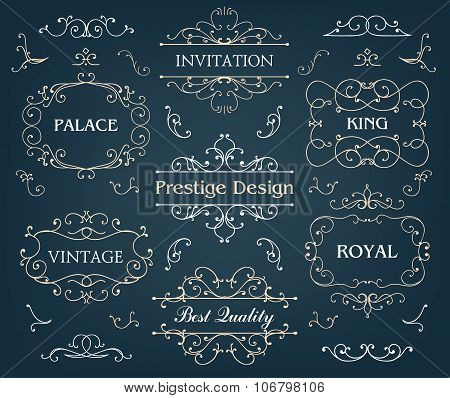 Vector set of calligraphic design elements page decoration