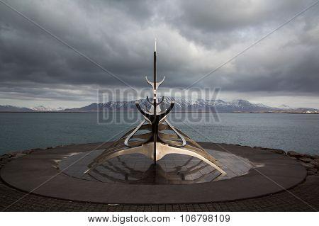 Reykjavik, Iceland - April 03:  Solfar Sculpture (sun Voyager) In Reykjavik, Iceland On April 03, 20