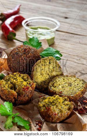 Dietary Falafel Balls Closeup