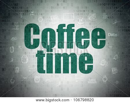 Time concept: Coffee Time on Digital Paper background