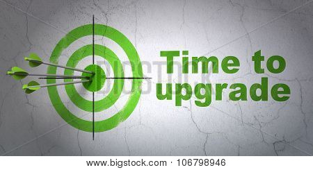 Timeline concept: target and Time To Upgrade on wall background