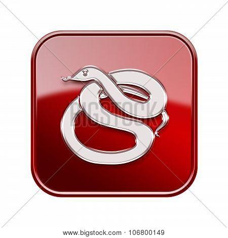 Snake Zodiac Icon Red, Isolated On White Background.