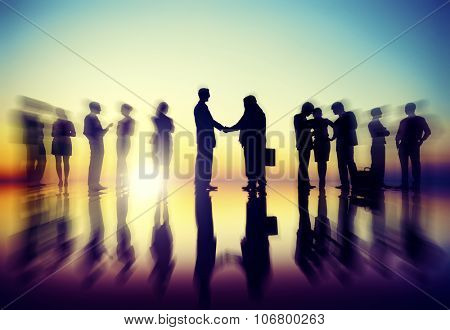 Business People Meeting Discussion Back Lit Concept