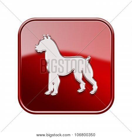 Dog Zodiac Icon Red, Isolated On White Background.