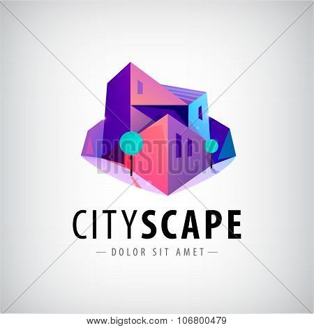 Vector city, buildings 3d colorful modern logo, icon, sign, illustration