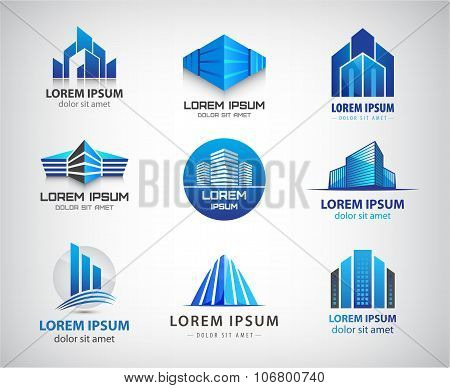 Vector set of blue, modern office, company buildings, skyscrapers logos, icons isolated