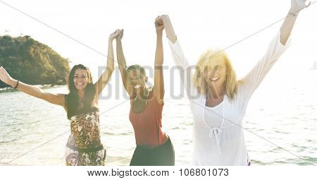 Women Fun Beach Girls Power Celebration Concept