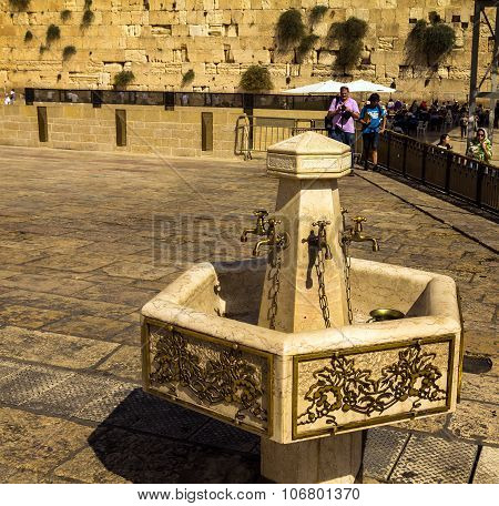 Cranes With Water And A Special Ritual Cups For Washing Hands Western Wall. Jerusalem Israel