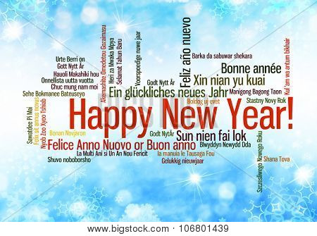 Happy New Year in many different languages. Words cloud