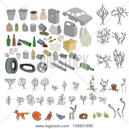 Different kinds of garbage in forests and wildlife isolated on white
