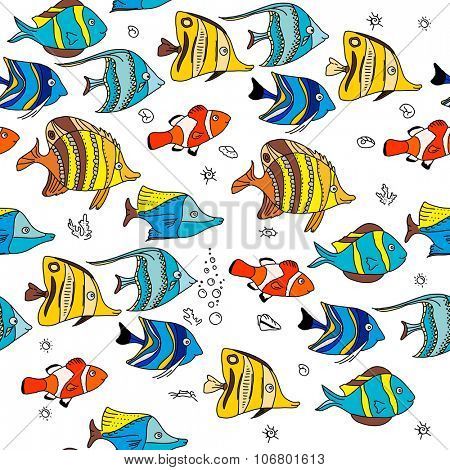 Simple seamless pattern with coral fishes. Endless texture for your design, announcements, postcards, posters.