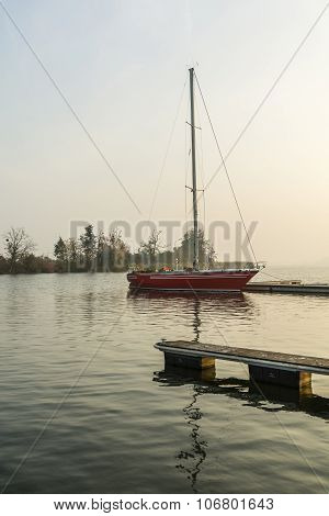 Yacht Moored On The Lake