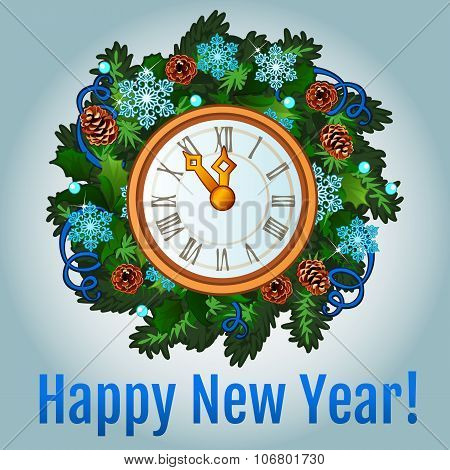 Clock with new year decorations