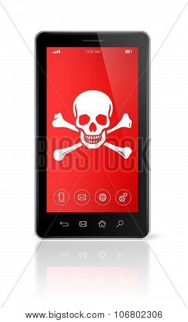 Smartphone With A Pirate Symbol On Screen. Hacking Concept