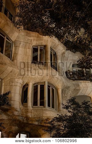 Architecture Details Of Casa Mila At Night, Barcelona
