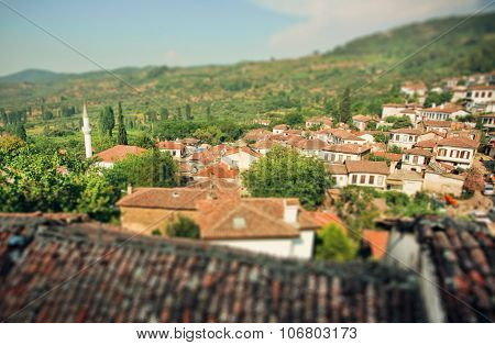 Tilt Shift Effect On The View Of Rural Landscape With Tiled Roofs Of Turkey