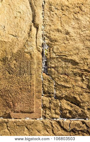 Notes To God In The Western Wall .  Jerusalem