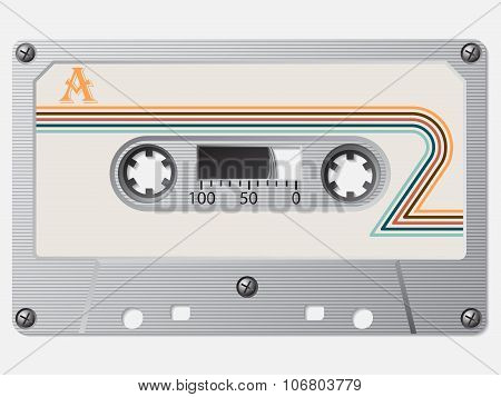Old Cassette With Striped Retro Label