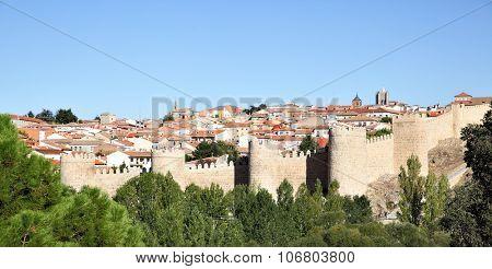 Panoramic view of Avila, Castile and Leon, Spain