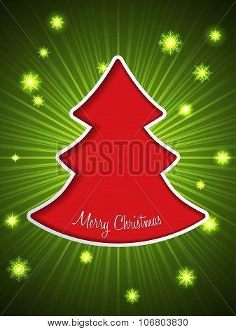 Christmas Greeting Card With Red Christmas Tree