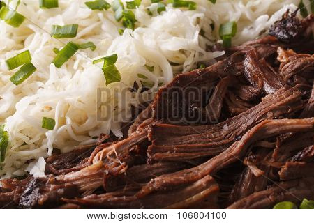Pulled Pork With Sauerkraut Macro. Horizontal Background