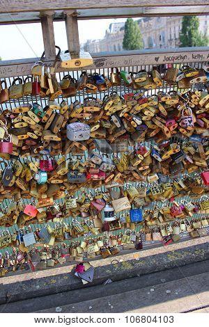 Paris Love Locks On Bridge